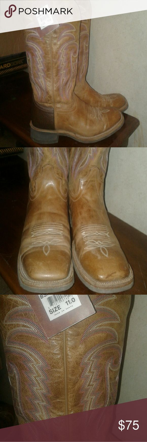 Old West brand square toe  Mens boots Old West Square Toe ,all leather uppers w/ crepe soles.  In NEW condition ,only worn maybe  3 times. Tag still attatched.   Own multiple pairs making room and doing a closet  cleanoyt.  Priced fair only accepting  offers that are reasonable,  Please  appreciate the leather work on these Old West cowboy boots ,  very good quality and fairly priced 😊 OLD WEST Shoes Boots