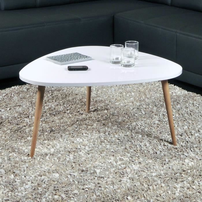 TABLE BASSE Table basse  Galet Blanche