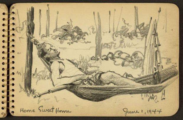 """Scène de la vie de caserneDès son arrivée dans le camp d'entraînement de Fort Jackson (Caroline du sud), en mai 1944, Victor Lundy témoigne, dans ces sketchbooks, de son quotidien et de celui de ses camarades. On voit sur ce croquis intitulé """"Home Sweet Home"""" un soldat se prélasser (avec son fusil !) dans un hamac."""