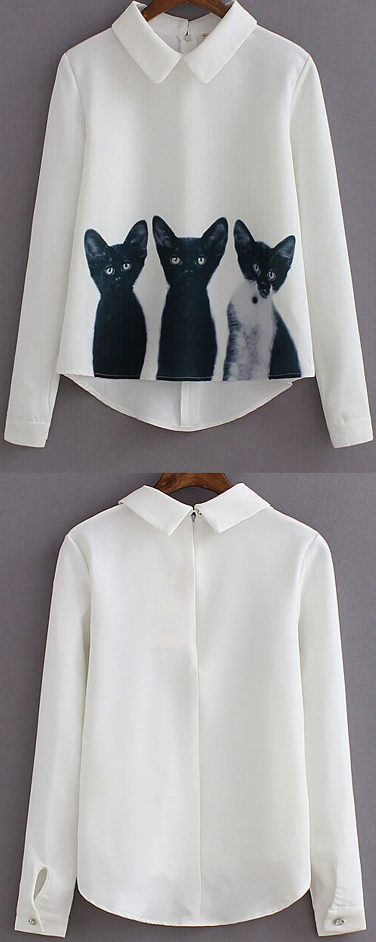 Cute white cat print shirt blouse at romwe.com. High low design with long sleeve make it that fashion& versatile!