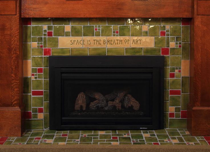 Fireplaces arts and crafts and fireplace surrounds on for Arts and crafts fireplace tile