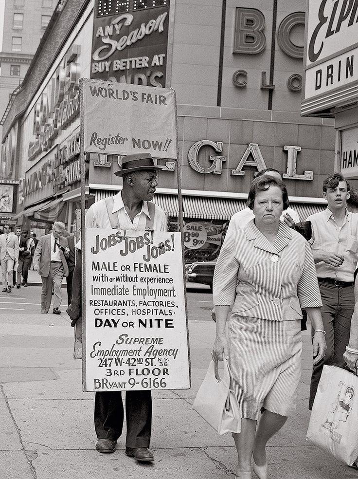 """Jobs! Jobs! Jobs!"" - Theater District, New York, ca. 1960s"
