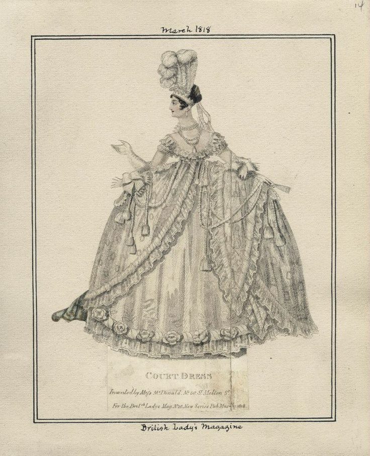 1818 It is a permanent blot on Queen Charlotte's record that she made women wear hoops to court with these high waistlines, that is why I rarely pin court dress. regency court dress - regency court dress - Google Search