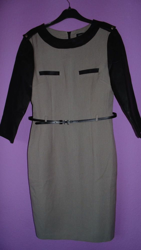 EVENING PAPAYA DRESS CREAM/TANNED/BROWN WITH LEATHER 3/4 SLEEVES SIZE 10
