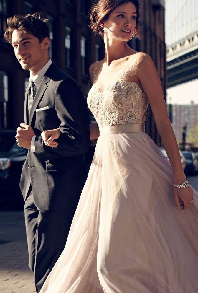 Newlyweds in love - LOVE her dress! @BHLDN