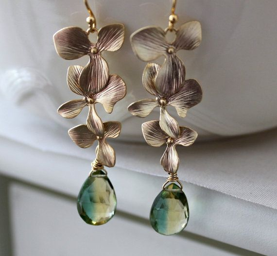 Gold Dangle Earrings Bi Color Quartz Green And Yellow Gemstone Fl Tender Shoots