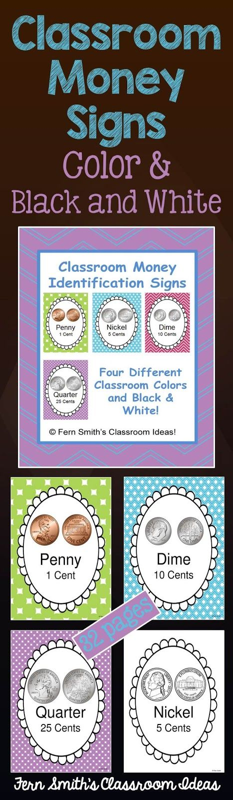 Classroom Money Signs and Books, part of this bundle - Time aand Money - Math and Literacy Lessons Bundle, 322 Pages Total and 15 Resource Packets! #TPT $Paid