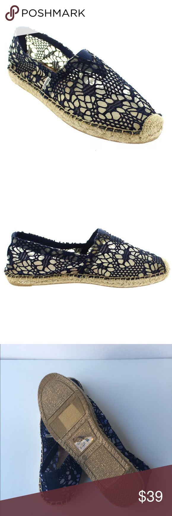 Joy & Mario Navy Lace Slip On Espadrilles New Joy & Mario Navy Cotton Lace pattern fully lined slip on Espadrilles... Leather padded footbed for comfort, rubber soles for traction.New without box Joy & Mario Shoes Espadrilles