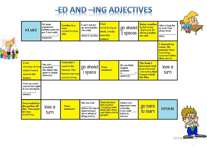 Ed -Ing Adjectives Board Game | Adjectives, Word problem worksheets, Math  about me