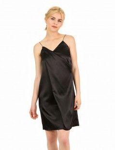 Black lingerie satin mini dress | Slip dress