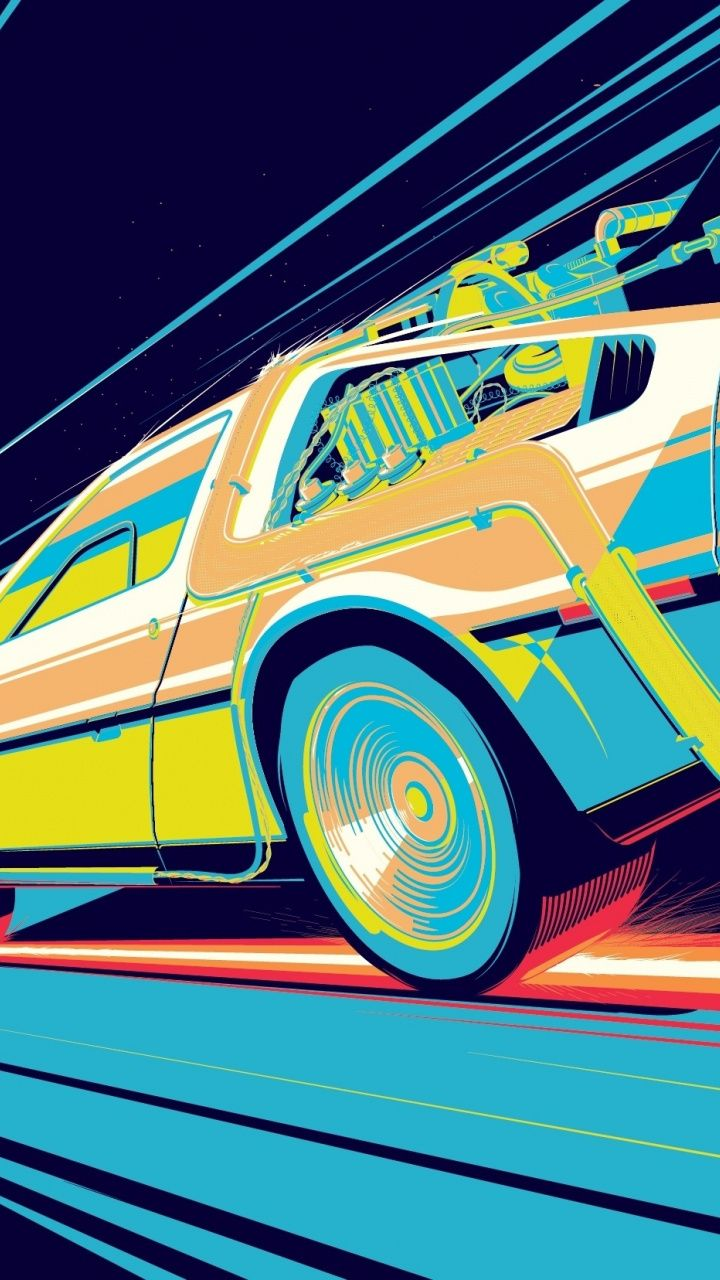 720x1280 Back To The Future Car Mazda Rx 7 Art Wallpaper Back