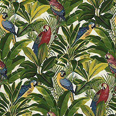Grandeco Ideco Exotisch Vogel-muster Papagei Motiv Tropische Blätter Tapete - Rot A11502