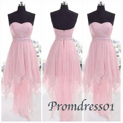 2015 sweetheart strapless high low beaded pink chiffon prom dress for teens, junior prom dresses, ball gown, evening dress, homecoming dress #promdress #coniefox #2016prom