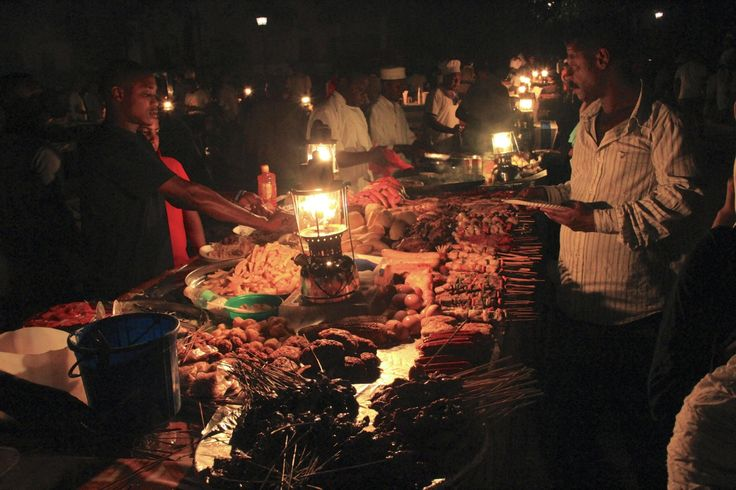 Evening food markets in Stone Town.