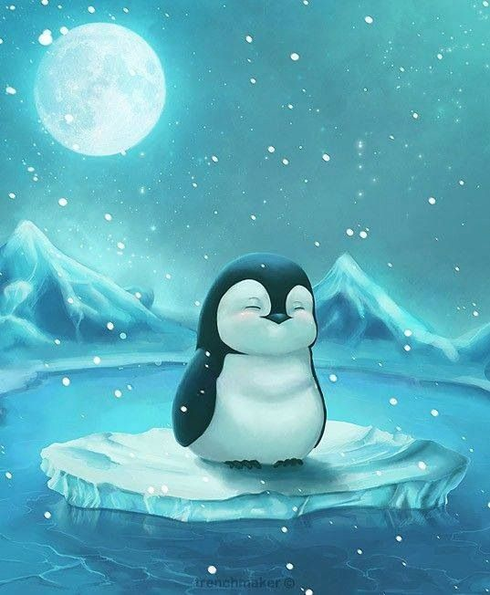 Winter moon light penguin