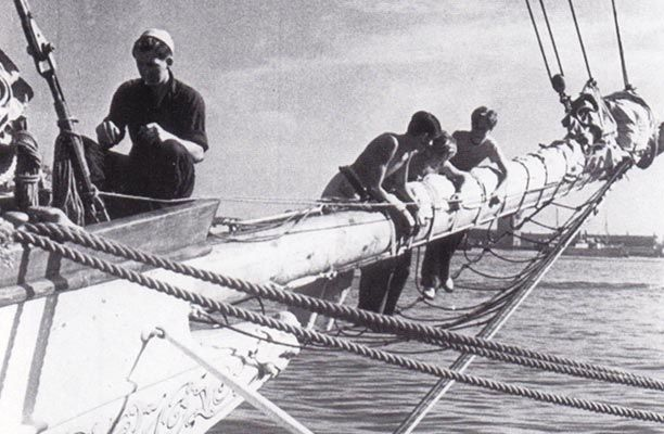 The crew of Shenandoah preparing for the journey to South America