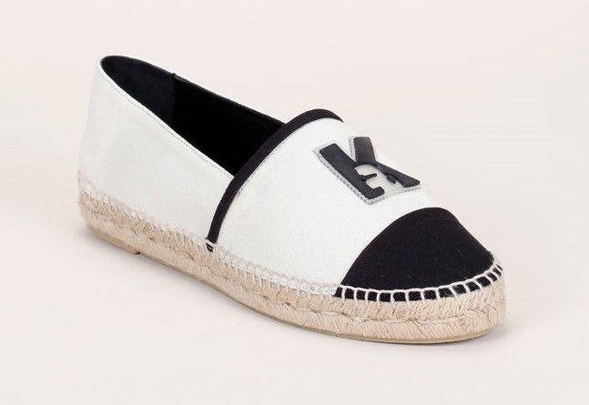 Espadrilles en toile blanches/noires patch logo Karl Lagerfeld
