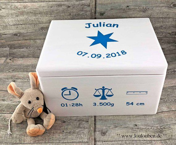 Large memory box baby child box birth with name & date wood baby child wooden box star gift memory wooden box memory box memory box – LouLouBen