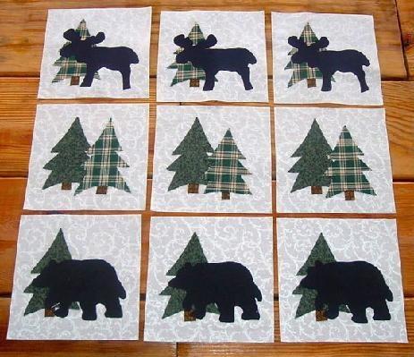 Set Of 9 Lodge Cabin Moose Bear Tree Quilt Blocks Free