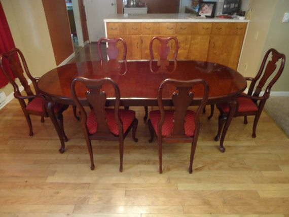 Thomasville cherry dining room set queen anne table 6 chairs leaf excellent dining room - Thomasville kitchen table ...