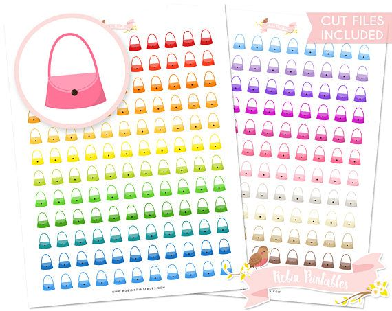 Handbad Planner Stickers with Silhouette Cut Files Erin Condren Cute Purse Fashion bag diy stickers. Personal Use Download Sticker PDF by RobinPrintables