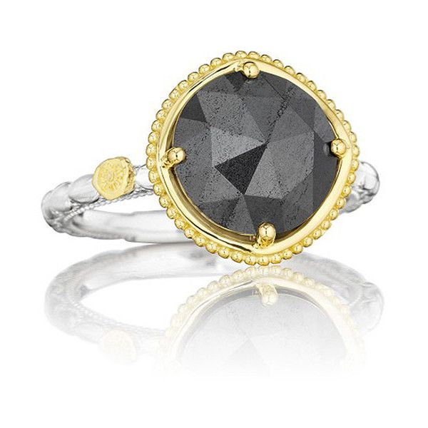 Tacori Midnight Sun Two Tone Hematite Station Ring ($450) ❤ liked on Polyvore featuring jewelry, rings, tacori jewelry, 2 tone ring, two tone rings, hematite jewelry and two tone jewelry