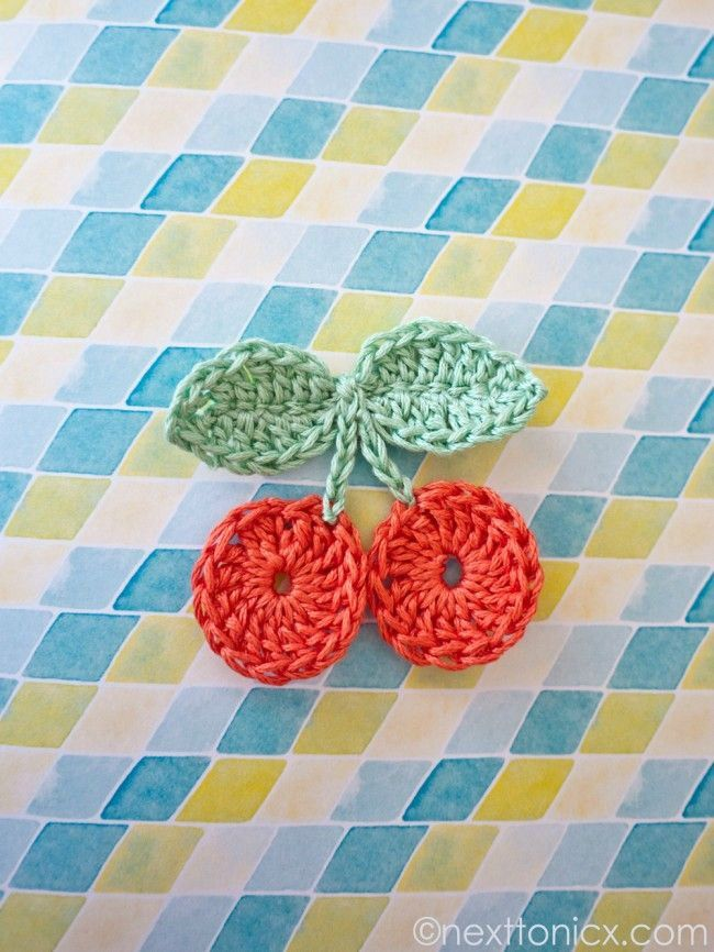i just adore these little crochet cherries
