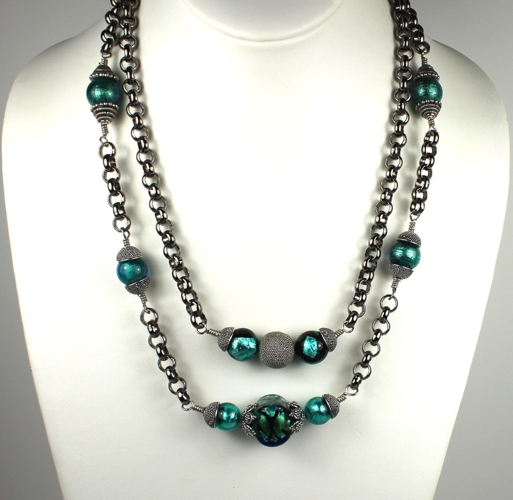 Venetian Glass Evening Necklace by Jeweled Chameleon
