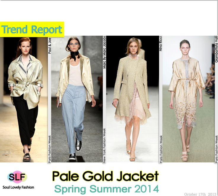 Pale Gold Jacket #Fashion Trend for Spring Summer 2014  #fashiontrends2014 #spring2014 #trends  #metallic #metallica #gold