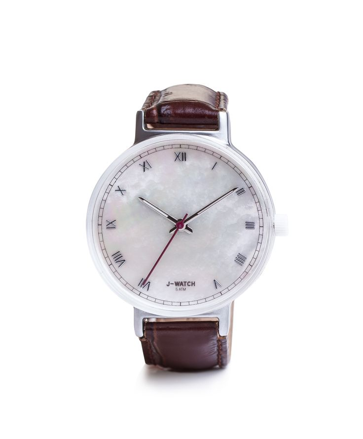 J-WATCH ROMAN NUMERALS 40 mm WITH BROWN LEATHER STRAP by JU'STO