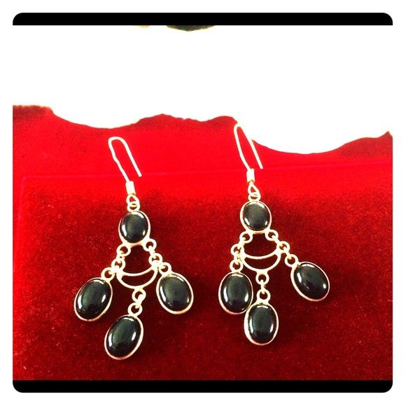 Sterling silver chandelier onyx stone earrings Stunning sterling silver (925) chandelier onyx stone earrings which make you feel like you are walking hollywood's red carpet! Brand new never worn- they need someone who can dazzle wearing them! Jewelry Earrings