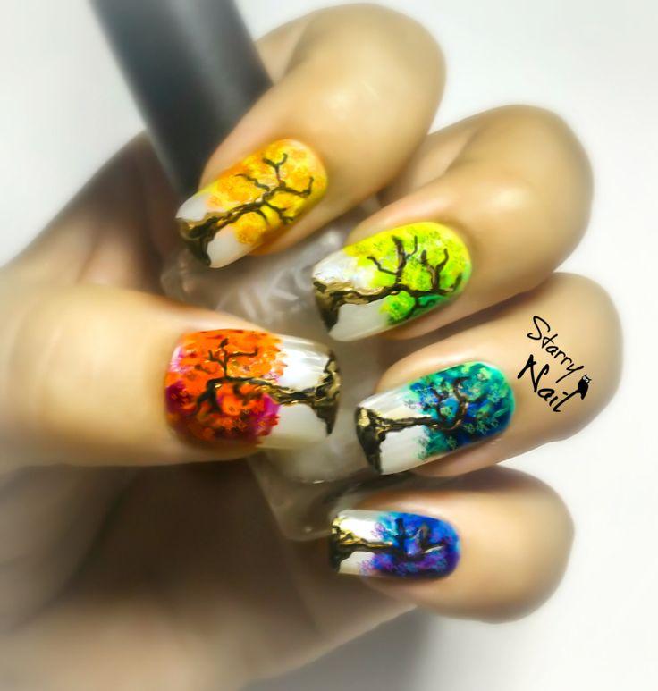 Rainbow Trees Nail Art (with video tutorial) #nail #nails #NailArt #NailPolish #NailDesign #NailTutorial #NailArtTutorial #Tutorial #Art