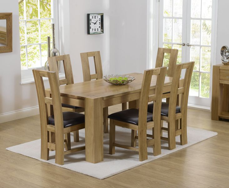 Mark Harris Tampa Solid Oak Dining Table With 6 John Louis Brown Chairs
