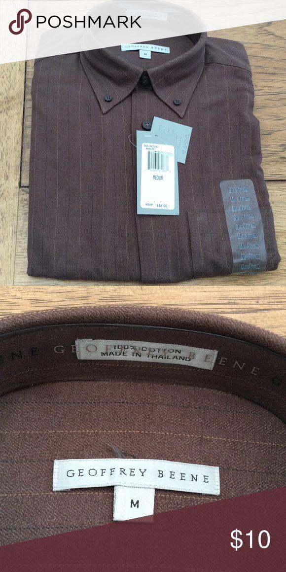 Men's Geoffrey Beene shirt 100% cotton, new, brown Geoffrey Beene Shirts Casual Button Down Shirts