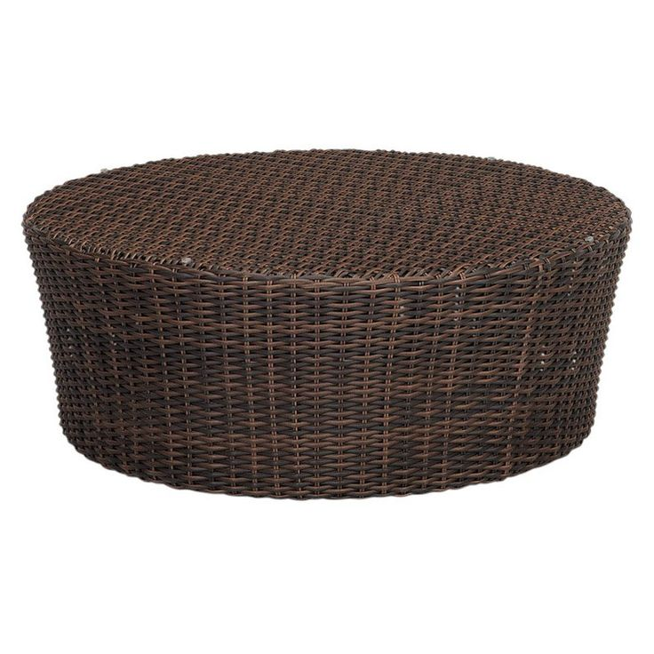Outdoor Sunset West Montecito Round Wicker Patio Coffee Table   2501 RCT