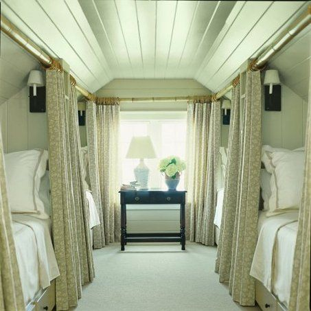 What a wonderful guest room! I love the privacy of the curtains. Things We Love:  Atiic Living