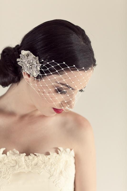 Primrose - Large Russian Veil, French Crystal Rose - Amanda May