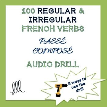 Practice is what it takes when learning verb conjugations. This audio recorded drill will help students practice and master regular and irregular French verbs in the passé composé. There is a mixture of verbs that use avoir and être as helping verb, and reflexive verbs are included.
