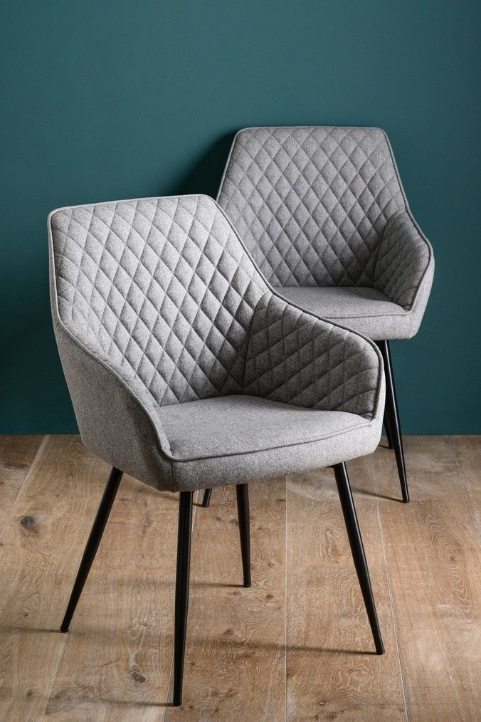 Set Of 2 Hamilton Arm Dining Chairs With Black Legs Fabric
