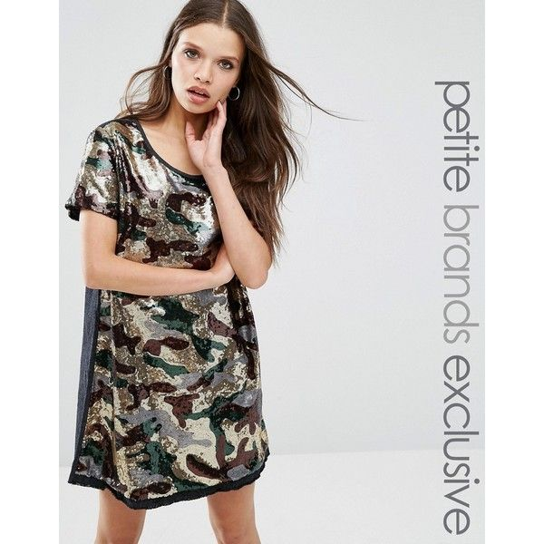 Liquor & Poker Petite Sequin Oversized Dress In Camo Print (£28) ❤ liked on Polyvore featuring dresses, green, petite, green sequin dress, camouflage dresses, petite dresses, loose fitting dresses and camoflage dresses