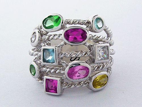 Silver Cable Confetti Ring