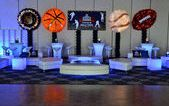 Sports Themed Lounge Decor with Custom Backdrop & Sports Ball Balloon Sculptures Background