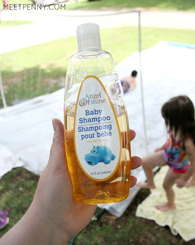 To make a homemade water slide super slippery, don't forget to pick up some tear-free baby wash at the dollar store! DIY waterpark, kid wash, and water battle stations. Such fun ideas here!