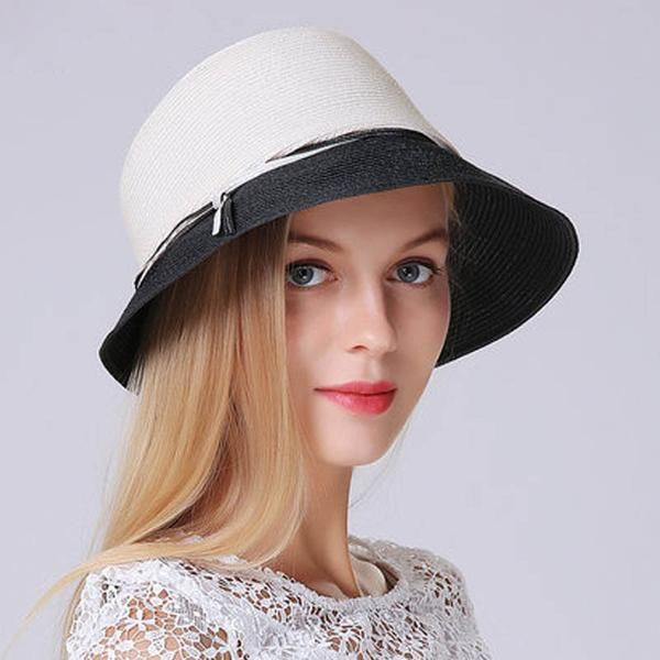 FuzWeb Straw Bucket Hat Summer Floppy Big Head Sun Hats For Women Outdoor  Beach Vacation 42d4702f6f5