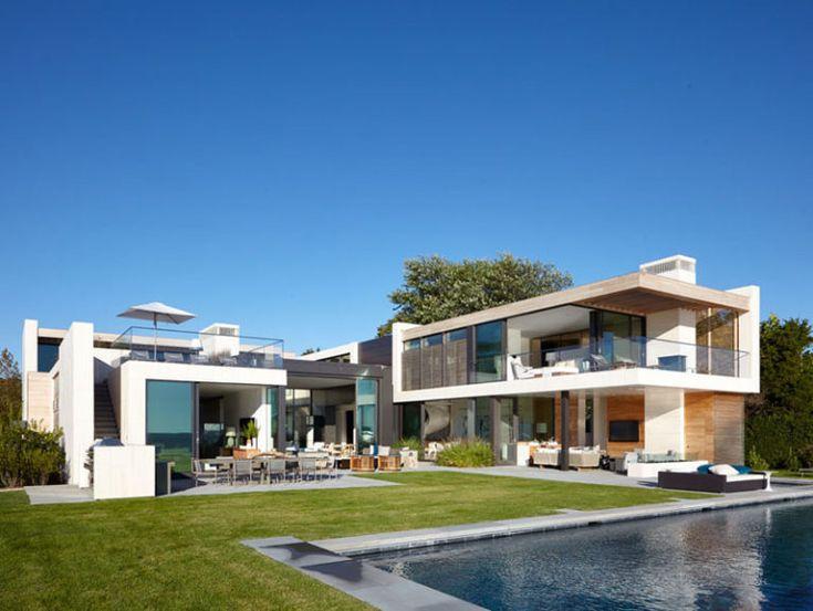 Cette villa avec piscine exceptionnelle est une résidence privée à north haven dans les alentours de la mégalopole de new york par blaze makoid architecture