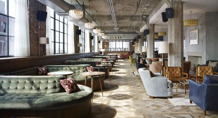 Dark natural interior brightened with natural light  [Soho House Chicago]