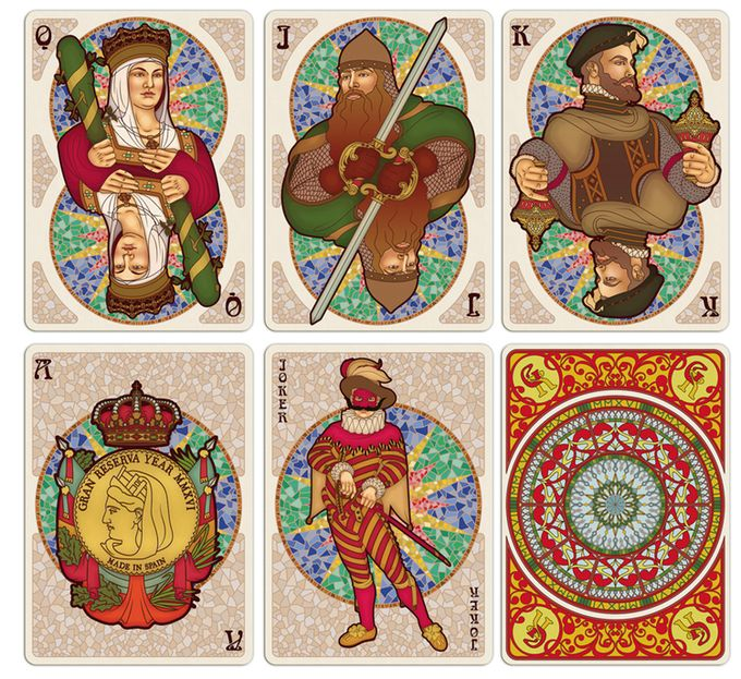 """5 extra cards depicting Spanish characters and suits - """"Isabella I of Castile"""" as Queen of """"Bastos"""" + """"Rodrigo Díaz de Vivar (aka el Cid)"""" as Jack of """"Espadas"""" + """"King Philip II"""" as King of """"Copas"""" + Ace of """"Oros"""" + """"Il Capitano"""" as the Joker + Back"""