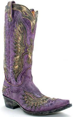 Womens Old Gringo Eagle Boots Leopardito Violet