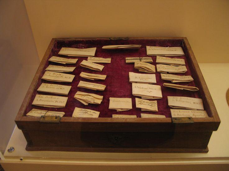 Sacred Relics pinned to velvet