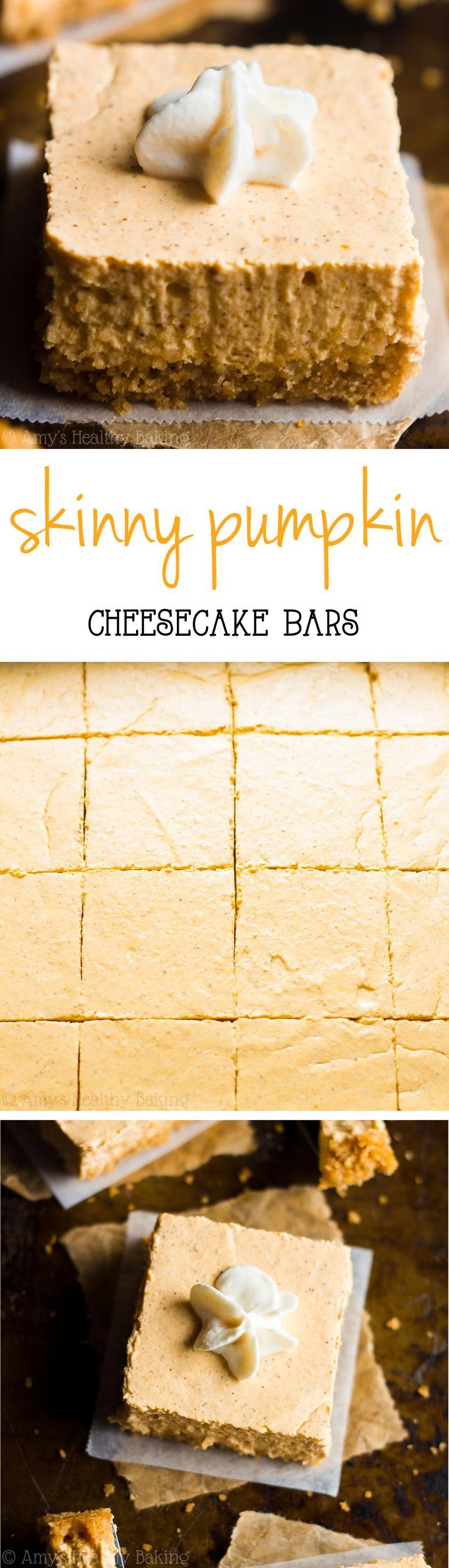 Skinny Pumpkin Cheesecake Bars -- a super easy, fail-proof recipe that's perfect…